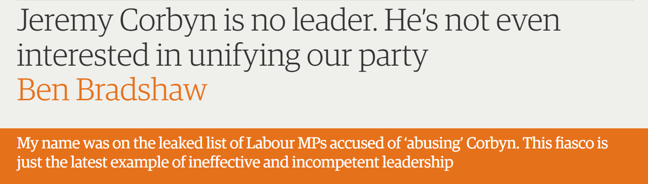 Jeremy Corbyn is no leader. He's not even interested in unifying our party