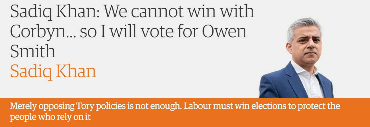 Sadiq Khan: We cannot win with Corbyn… so I will vote for Owen Smith