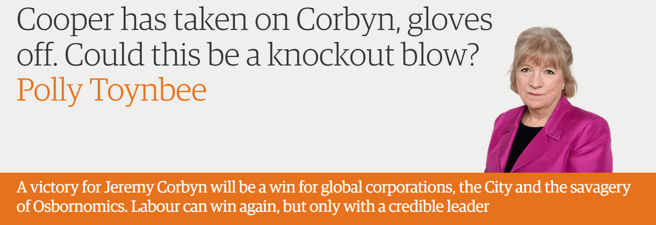 Cooper has taken on Corbyn, gloves off. Could this be a knockout blow?